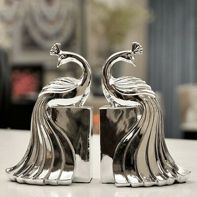 Peacock Craft Bookends Beautiful & Elegant Bookcase Bedroom Home Decor, Silver