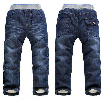 Baby Jeans Trousers Casual Jeans Kids Autumn Winter Pants Boys Girls Warm Pants