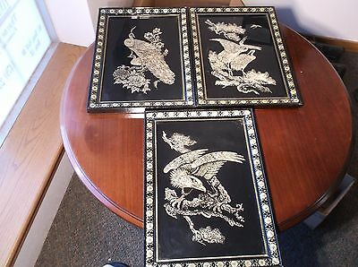 Lot Of 3 Vtg Beautiful Korean Framed Mother Of Pearl Inlaid Arts, Birds, Lacquer