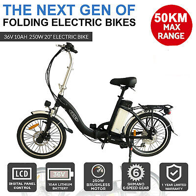 White 250W Electric Bike 48V Ebike Folding City Scooter Bicycle Lithium Battery