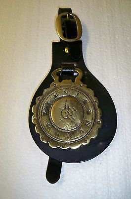 English Horse Tack Leather & Brass Harness Equestrian Pageantry Medallion Clock