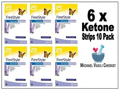 Ketone Test Strips 6x 10 Pack (60 Strips)  FreeStyle Optium Blood Ketone Abbott