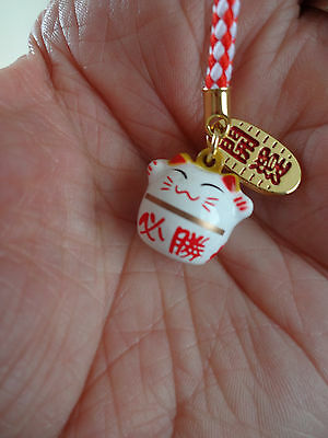 Maneki Neko Strap Charm ~ Metal with Bell from Japan ~ lucky beckoning cat / Red
