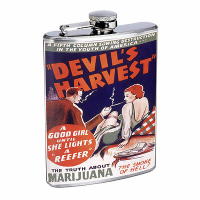 Vintage Poster Devil's Harvest D304 Flask 8oz Stainless Steel Hip Drink Whiskey