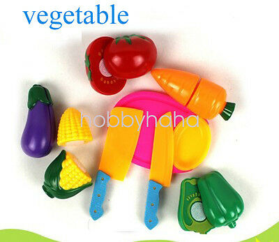 1set Kid Pretend Role Play Kitchen Vegetable Food Toy Cutting Set Gift-Vegetable