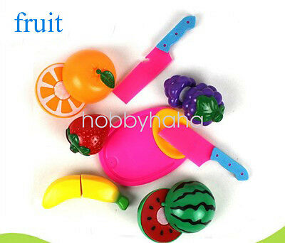 1 set Kids Pretend Role Play Kitchen Fruit Food Toy Cutting Set Gift--Fruit