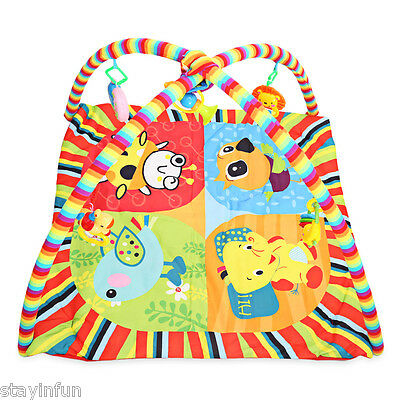 Baby Soft Play Mat Cartoon Animal Gym Fitness Blanket with Frame Rattle Toy
