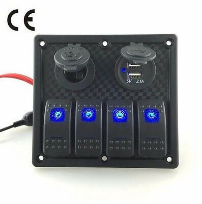 4 Gang Waterproof Rocker Automotive Switch Panel USB Charger LED Car Marine Boat