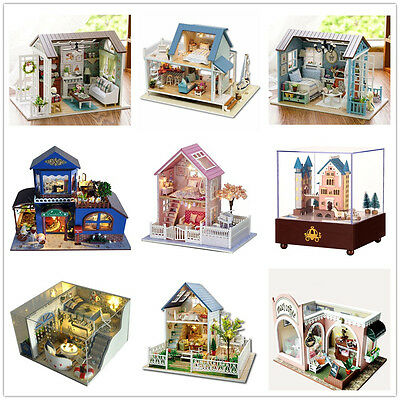 Wooden Dollhouse Miniatures DIY House Kits with LED Light & Furniture Xmas Gifts