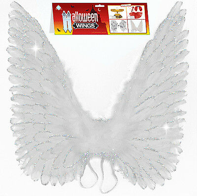 """24"""" White Glitter Real Feather Wings Perfect for your Angel Halloween Costume!"""