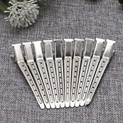 10pcs Hair Clips Stainless Steel Hairdressing Duck Bill Alligator Clips New