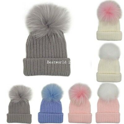 Child Kids Toddlers Hat Baby Boys Girls Faux Fur Pom Pom Cap Knitted New
