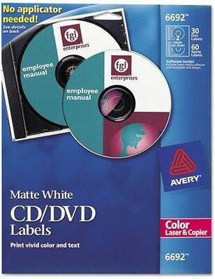 Avery 6692 Matte White CD Labels For Color Laser Printers And Copiers, 90