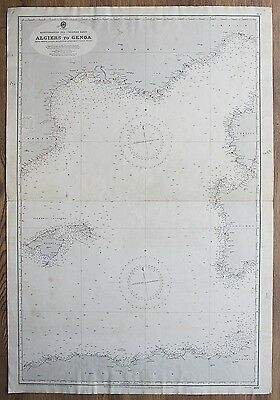 1905 Portugal Spain Cape St. Vincent Gibraltar Vintage Admiralty Chart Map