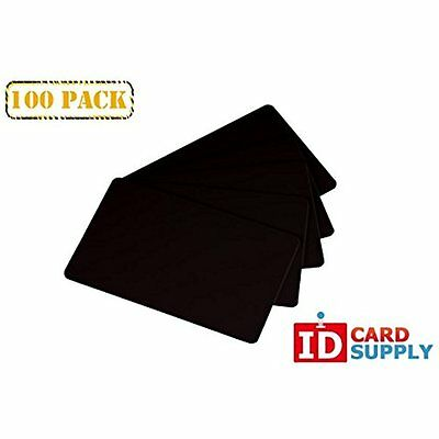 100 Blank PVC Plastic Photo ID BLACK Credit Card 30Mil by easyIDea