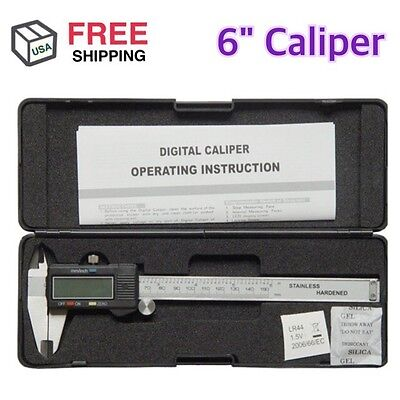 "6"" Electronic Digital Caliper Stainless Precision Inch/Metric MM LCD Dial"