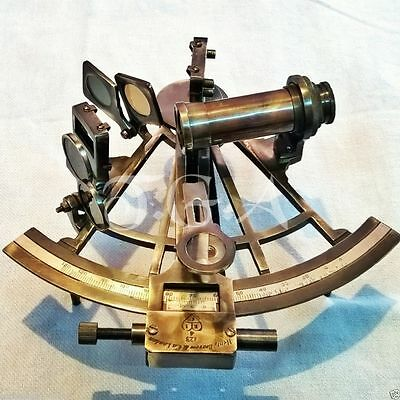 Antique Heavy Brass Nautical Sextant Henery Barrow & CO. London Maritime