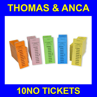 10 No 1 Perforation Raffle Ticket Numbered 1-100,000 5 Different Colours
