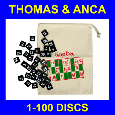 1-100 Plastic Numbered Discs & Draw String Bag for Raffle, Club Draw, Bingo