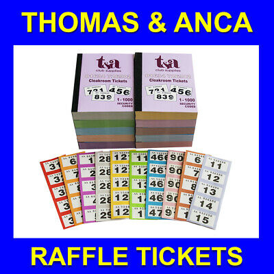 40 Books of 1-1000 Cloakroom / Raffle / Tombola Tickets - 10 Different Colours