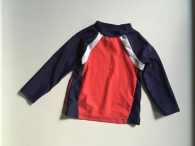 Girls Boys Protective Swimwear Sports Top Red White Blue Long Sleeves 18 months