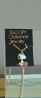 Vintage Peanuts Snoopy Tennis Closionne Jewelry Aviva Necklace New