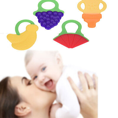 Baby Teether Silicone BPA Free Dental Care Toothbrush Training Fruit Shape Baby