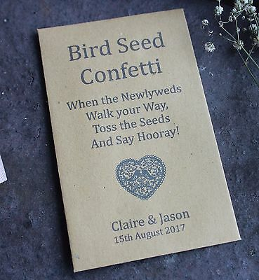 BIRD SEED CONFETTI-Personalised Seed Packets-Envelopes-Love Heart-Eco-Set of 10