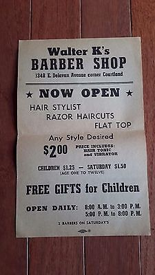 ORIGINAL VINTAGE 1950's BARBERSHOP SIGN AD OPENING PRICES