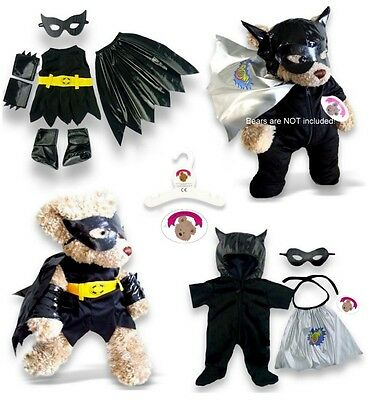 Teddy Bear Clothes fit Build a Bear Teddies Black Bat Hero Outfit Bears Clothing