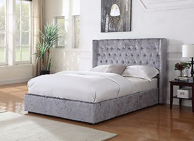 Sienna Crushed Velvet Fabric Upholstered Bed Frame In Silver available 4ft6/5ft