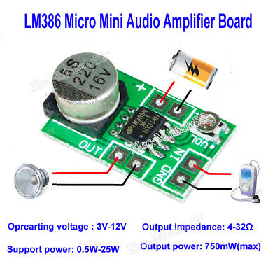 MINI LM386 AUDIO Power Amplifier Board DC 3V~12V 5V Microphone Amp Module  750mW