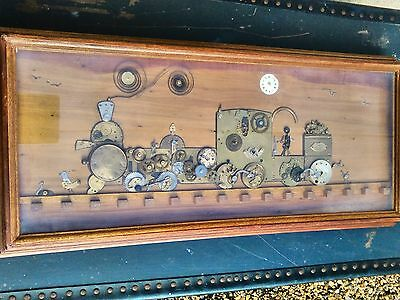Vintage Steampunk Wall Art Brass On Wood Handcrafted Steam Locomotive Framed