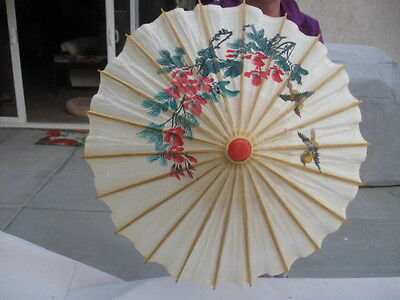 Vtg Japanese China Rice Paper Handcrafted Parasal Umbrella Floral Bird Bamboo