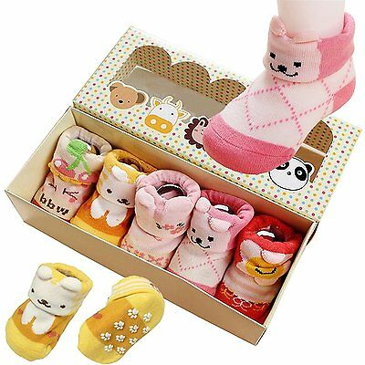 5pair Baby Girls Toddler Animal Cotton Anti Non-Skid Slip Crew Socks 0-12 Month