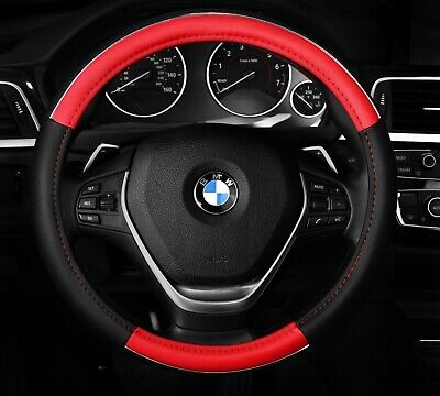 """Chrome Line two tone Steering Wheel Cover Black and Red Fits 14.5"""" - 15.5"""""""
