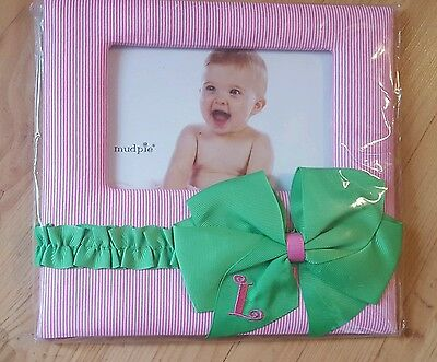 MUD PIE L Initial BABY Nursery Girls Preppy pink green PHOTO FRAME Personalized