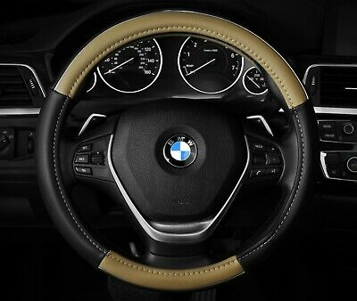 """Chrome Line two tone Steering Wheel Cover Black and Beige Fits 14.5"""" - 15.5"""""""