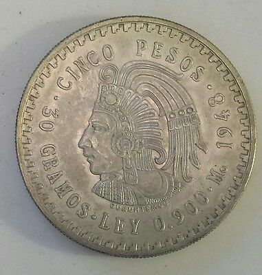 """""""1948 Mexico 5 Pesos""""  Silver (.900) Coin - Au - Ms Condition - Not Prof. Graded"""