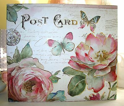 "NEW DECORATIVE HAT/STORAGE BOX ""SHABBY POST CARD-1"" PINK-ROSES and CHIC 16"""