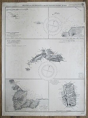 1901 Islands South Pacific Ocean Juan Fernandez Etc. Vintage Admiralty Chart Map