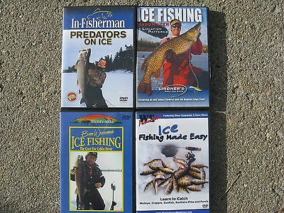 Ice Fishing  DVD's  Lot of 4 ice fishing made easy,predatores on ice