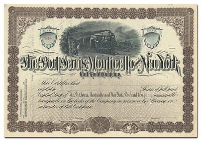 Port Jervis, Monticello and New York Rail Road Company Stock Certificate