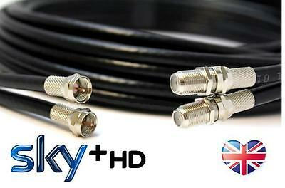 BLACK 10m TWIN Satellite Coaxial Extension Cable - suitable for Sky Q HD UHD 4k