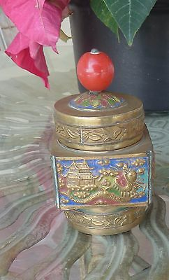 Brass and Enamel Antique Chinese Covered Container topped With Circular Stone