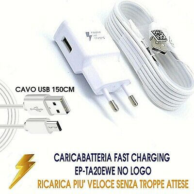 CARICABATTERIA Rapido per Samsung FAST CHARGER Galaxy S6 S7-note-s8-9 veloce USB