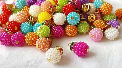 1.5cm- 5 Gorgeous multicoloured bubbly pearls and diamante hook buttons DIY