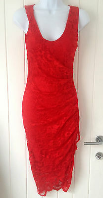 Ladies RED LACE WRAP DRESS Bodycon SIZES 8 10 12 14 16 Party Wedding ~ NEW ~
