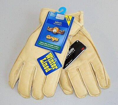Grips Cowhide Leather Winter Lined Work Gloves - Medium