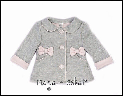 Baby Girls Grey Pink Smart Coat Spring Jacket Christening Wedding 3 6 9 12 18M